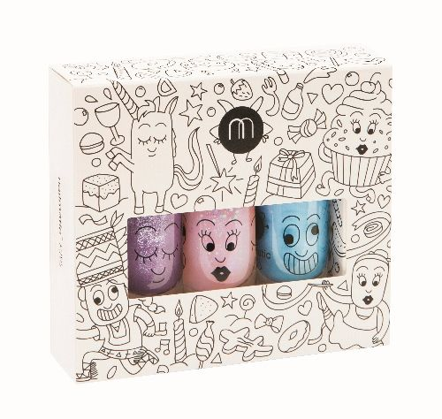 'Party' set of 3 (Purple Glitter/Powder Pink Glitter/Blue) - nailmatic® kids - water based nail polish