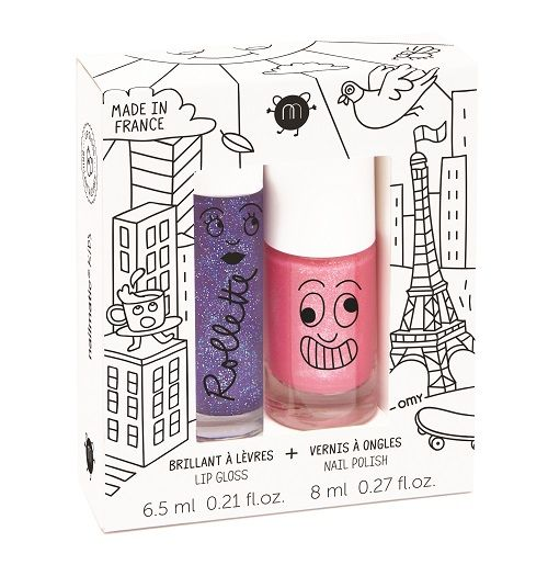 nailmatic® kids - Rollette & Lip Gloss Polish Duo - LOVELY CITY - (Blackcurrant/Kitty Pink Glitter)